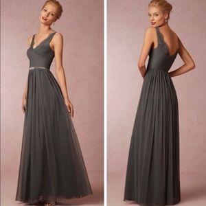 Anthropologie Hitherto Gray Lace Maxi Dress